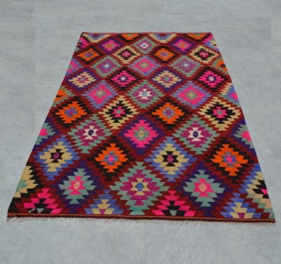 Pink Kilim Rug 9'5''x5'9'' Zig Zag Kilim Rug Turkish By