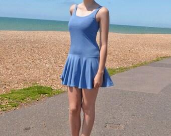 SALE Lulu Drop Waist Summer Beach Dress. Denim Look Jersey Dress. Vintage Flapper Style Strappy Mini Dress with Deep Scoop Neck