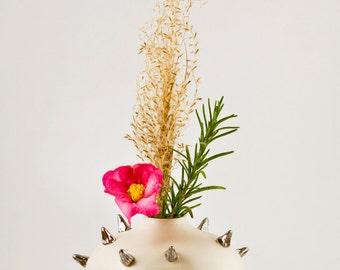 Bud vase, ceramic vase, handmade vase, pottery vase, flower vase, punk vase, spiked vase, handmade ceramics, handmade pottery