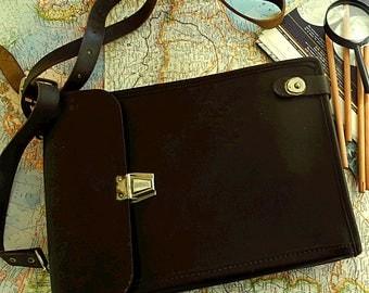 Leather crossbody bag mens messenger bag soviet army brown leather briefcase  vintage 1987 USSR