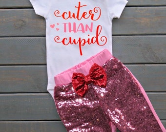 Cuter Than Cupid Outfit, Girls' Valentines Outfit, Baby's First Valentines Day, Baby Shower Gift