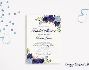 Bridal Shower Invitation Printable Navy Blue Bridal Invite Floral Bridal Party Rustic Boho Bridal Shower Suite Bride to be Invite