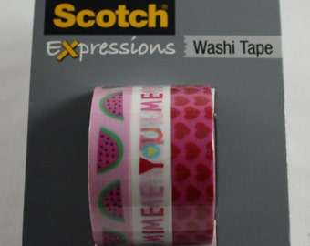 Washi Tape Set Watermelon Valentine You + Me Hearts Scotch Expressions 3M Paper Tape Craft Tape Removable Tape Decorative tape NEW LISTING