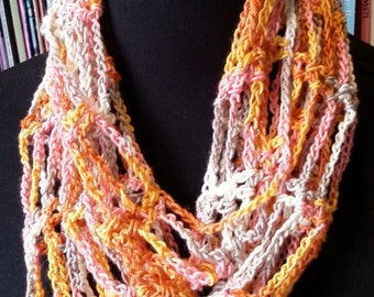 Silk and wool infinity scarf cowl in copper, apricot, pink, white and grey.