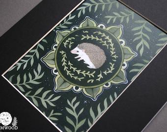 Hedgehog Medallion with Ferns // Animal Totem Lesson  // Dark Forest Folk Illustration