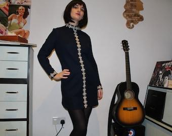 Vintage 1960's Navy & White 'Bleeker Street'  Shift Dress (Size 8 (UK))