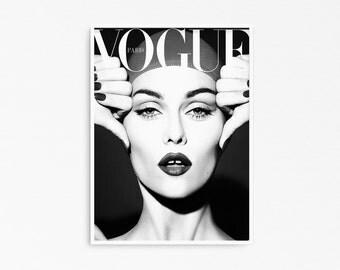 Vintage cover. Retro magazine poster. Vintage poster printable. Fashion poster print. Printable fashion artwork.
