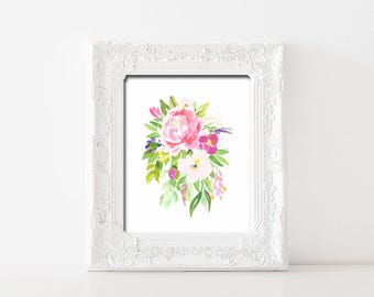 Pink Watercolor Floral Bouquet Printable Wall Art Watercolor Blush Flower Bouquet Print Watercolor Flowers Print Watercolor Flower Decor Art