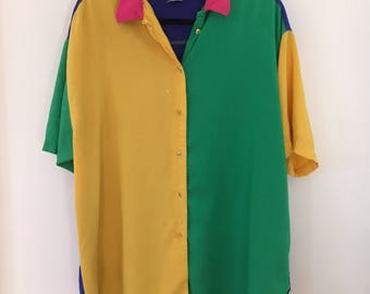 vintage 1980s colorblock aesthetic primary color collar shirt size XL size L size XXL