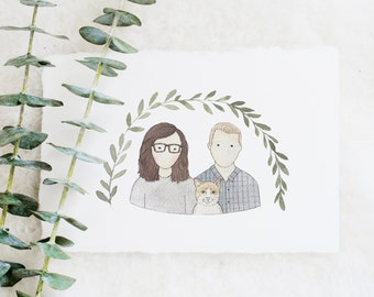 Couples Portrait   Bust Illustration   Family Portrait Illustration   Custom Portrait   Couple Illustration   Watercolor   Hand Painted