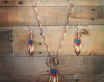 Dream catcher Necklace & Earring set , gift set , country wear , cowgirl jewelry , countrychefette jewelry