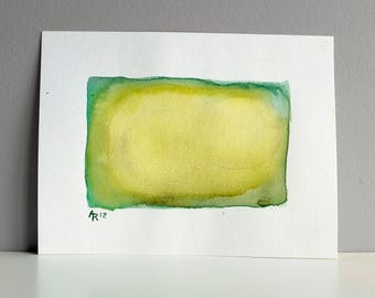 Composition in Green and Yellow / original watercolour painting / modern abstract