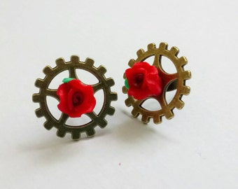Steampunk Stud Earrings with Red Flowers