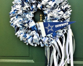 Dallas Cowboys Wreath, Football Wreath, Door Wreath, Handmade Wreath, Indoor Outdoor Wreath, Sports Wreath, Rag Wreath, Fabric Wreath, NFL