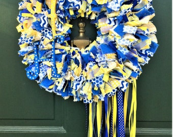 School Wreath, High School Wreath, Alamo Heights Wreath, Rag Wreath, Fabric Wreath, Front Door Wreath, Door Wreath, Handmade Wreath