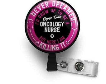 Super Cute Oncology Nurse Retractable ID Badge Reel