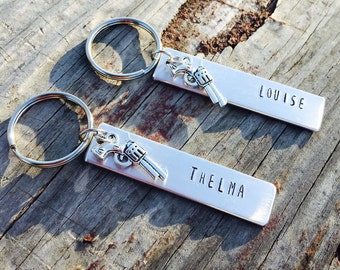 Thelma and Louise Hand Stamped Keychain Best Friend Keychain Gun Keychain Best Friend Birthday Friendship Keychain Hand Stamped Keychain Set