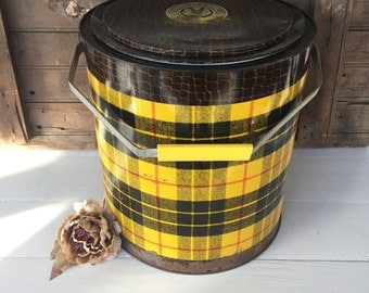 Vintage Cooler, Picnic Cooler, Tartan Toter Cooler, Metal Cooler, Drink Cooler, Cottage Chic, Home Decor, Outdoor Decor, Garden Decor