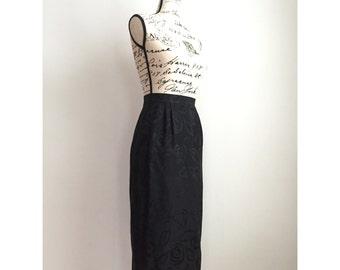 Vintage Midi Pencil Skirt with Embossed Floral Print, Vintage Midi Floral Skirt, 90s Floral Skirt, Vintage Dressy Skirt, Silk Floral Skirt