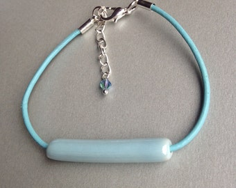 SALE! Cold Winter Collection- Ceramic Jewellery- Long Ceramic Bead Bracelet- Blue Leather Strand Bracelet- Blue Bracelet