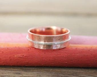 Copper and Sterling silver Spinner Ring - Made In England - Gift for her - Handmade ring - Arthritis - Copper - Personalised - Personalized