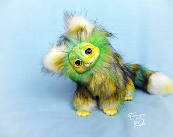 Fantasy green lime cat stuffed toy ooak