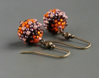 Orange Earrings, Long Earrings, Dangle Earrings, Seed Bead Earrings, Seed Beads, Seed Bead Jewelry, Beaded Earrings, Beadwork Earrings, Boho
