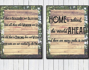 2 Pack Posters! Not all those who Wander; Home is Behind 11x14 Prints, Lord of the Rings Print, JRR Tolkien, Motivational Quotes, Christmas