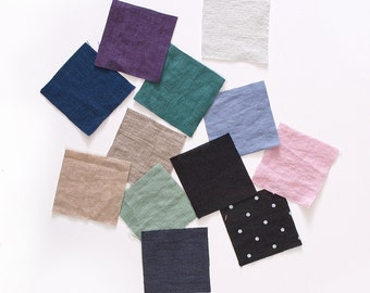 Fabric samples - Fabric swatches of pure softened linen european flax - Softened stone washed linen fabric color palette
