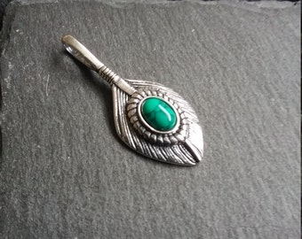 Native American Indian Inspired Silver & Turquoise Feather Pendant