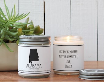 Alabama Scented Candle - Homesick Gift | Feeling Homesick | State Scented Candle | Moving Gift | College Student Gift | State Candles