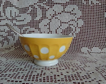 Beautiful yellow Bowl with white polka dots. 50 years