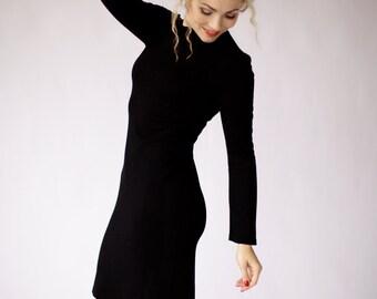 Modern black dress, black midi dress, office dress with long sleeves, formal occasion dress, little black dress, designer dress, knee length