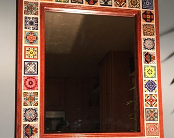 Mexican Talavera Tile Decorative  Wall Mirror- FREE SHIPPING