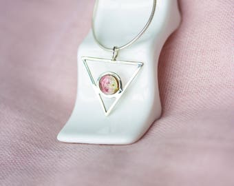 Simple and Dainty Gemstone Jewelry, Dainty Tourmaline Jewelry, Minimalist Gemstone Silver Necklace, Geometric Gemstone Jewelry, Pink Stone