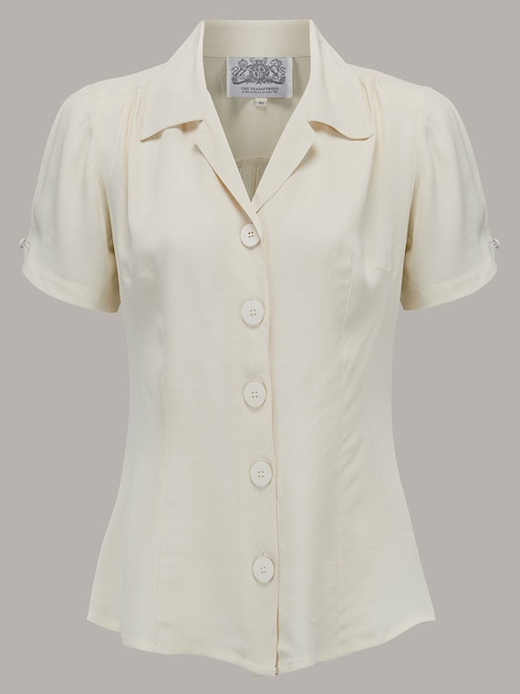 1940s Blouses and Tops 40s Vintage Inspired Grace Blouse in Cream $52.00 AT vintagedancer.com