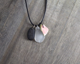 Frosty Sea Glass, Pink Sea Pottery, and BlackSea Pebble Necklace - Seaglass Sea Stacker SSPRG3