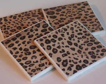 Leopard Print Coasters - Wine Coasters - Drink Coasters - Gift Giving