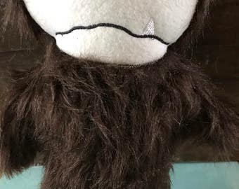 Hipster sasquatch plush monster, Bigfoot plush toy, Hairy plush monster toy, Hipster bigfoot stuffed toy