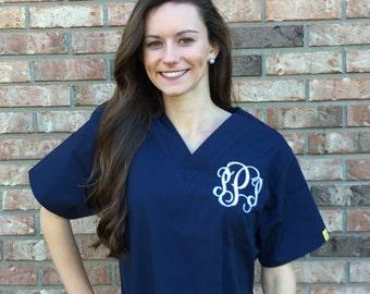 Monogrammed Scrubs // Nurse Monogram Scrubs // Personalized Scrub Outfit // Nurse Personalized Gift // Nurse Monogram Gift // Scrub Shirt //