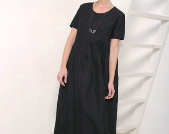 Womens dress Women's black dress Black linen dress Linen dress Asymmetric dress Oversized dress Maxi dress Maxi linen dress Black maxi dress