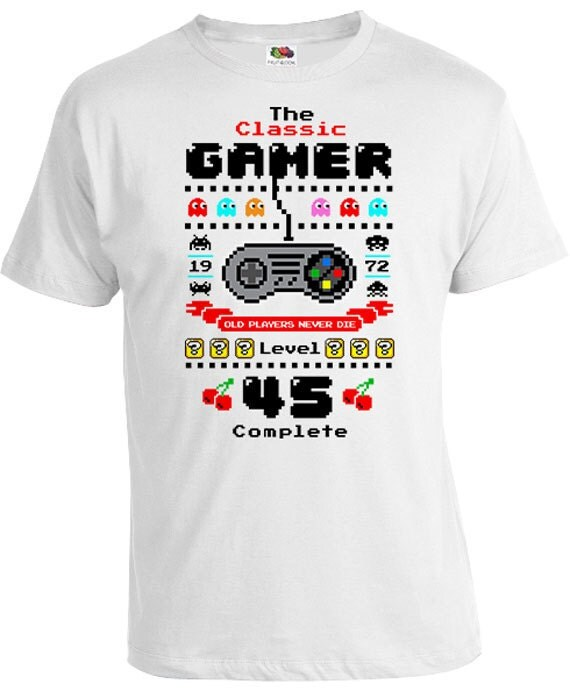 45th birthday gifts for nerds gamer shirt custom t shirt for Personalized t shirts canada
