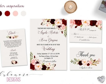 Printable Marsala Wedding Invitation Suite Bohemian Flowers Bridal Wedding Invite Set Pink Burgundy Floral Digital Wedding Invite - WS017