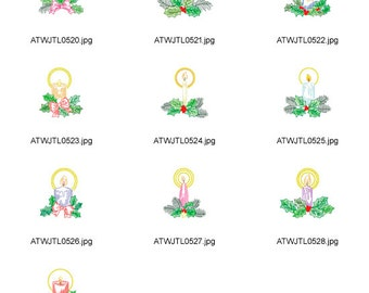 Candles-Multiline. ( 10 Machine Embroidery Designs from ATW )