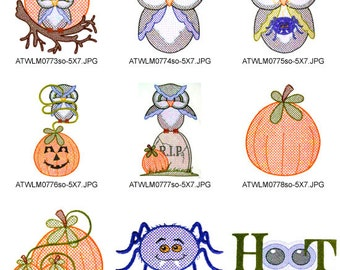 Spooky-Hoots-2 ( 9 Machine Embroidery Designs from ATW ). XYZ17B