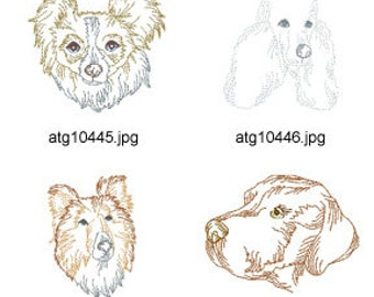 Multiline-Redwork-Dogs ( 11 Machine Embroidery Designs from ATW ) XYZ17C