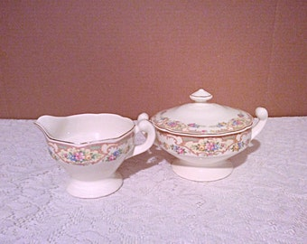 Mt Clemens Mildred pattern creamer and sugar bowl, floral scalloped edge with gold line Mildred creamer and sugar bowl.
