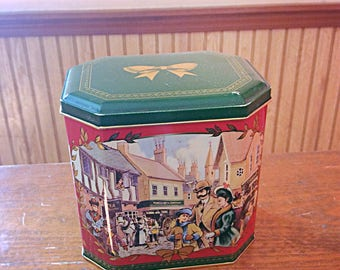 Kingtons 1990 tea caddy, hegtagonal illustrated tea can, Limited 1990 Kingtons tea container