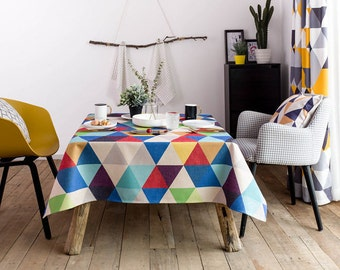 Colorful Triangle Childrenu0027s Party Tablecloth / Geometric Kitchen Table  Tablecloth / Dining Table Tablecloth / Party