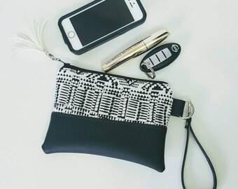 White Black Wristlet Wallet, Black Faux Leather, Wristlet Purse, Womens Wallet, Phone Wallet, Wristlet Clutch, Birthday Gift, Bridesmaid